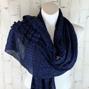 Coldwater Creek Blue Black Houndstooth Scarf NWT